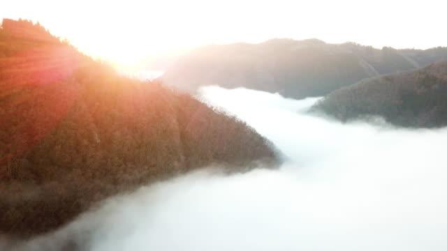 日本の山の雲の上に太陽が昇る