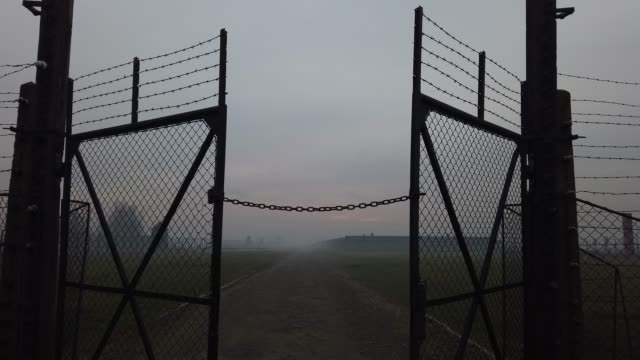 the sun rises over the early morning mist blanketing the barbed wire electrified fence that surrounds the auschwitz iibirkenau extermination camp on... - konzentrationslager stock-videos und b-roll-filmmaterial