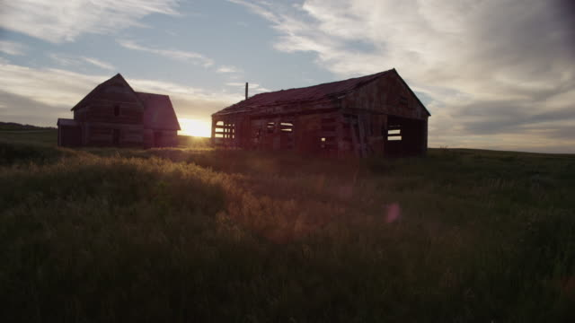the sun sets behind the ruins of an abandoned, gray-weathered barn and homestead on the high desolate plains. - barn点の映像素材/bロール
