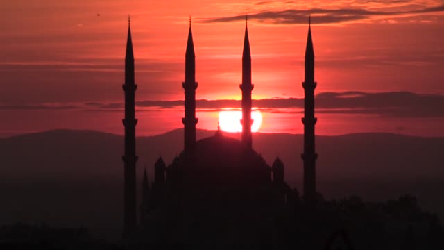 the sun sets behind the selimiye mosque in the northwestern edirne province of turkey on november 06 2019 - cumulus stock videos & royalty-free footage