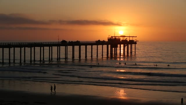 The sun sets on the Pacific Ocean at the Scripps Institute of Oceanography Pier in the La Jolla area of San Diego, California.