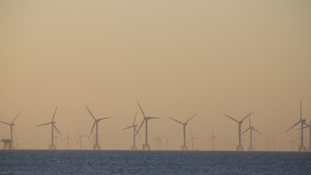 the sun setting behind the walney offshore wind farm taken from walney island, cumbria, uk. - sea bird stock videos and b-roll footage