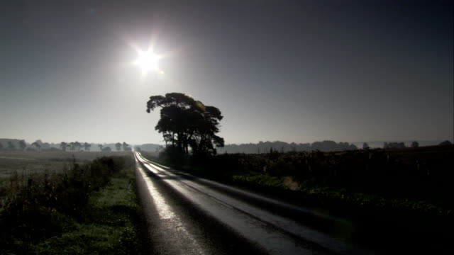 The sun shine on a road stretching across the countryside. Available in HD.