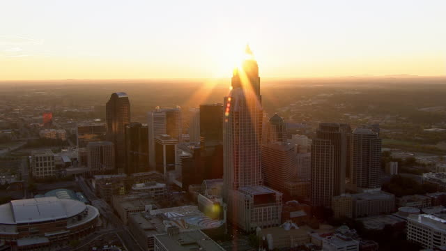the sun shines on downtown charlotte, north carolina. - charlotte north carolina stock videos & royalty-free footage
