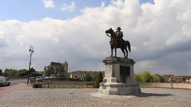 the sun shines on the equestrian statue of napoleon i, a bronze work built in 1867 and created by charles-pierre-victor pajol to commemorate one of... - french revolution stock videos & royalty-free footage