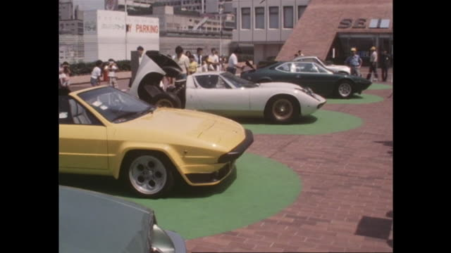 the supercar boom began in the mid-1970's and got popular among many children. the supercars were exhibited at the roof of seibu department store in... - 百貨店点の映像素材/bロール