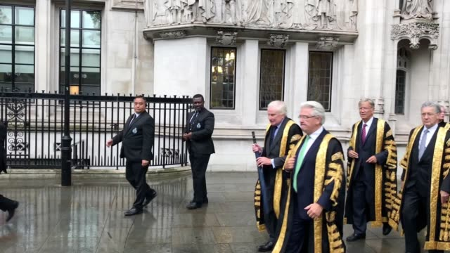 the supreme court justices leave the supreme court for the annual judges service at westminster abbey which marks the start of the new legal year.... - supreme court justice stock videos & royalty-free footage