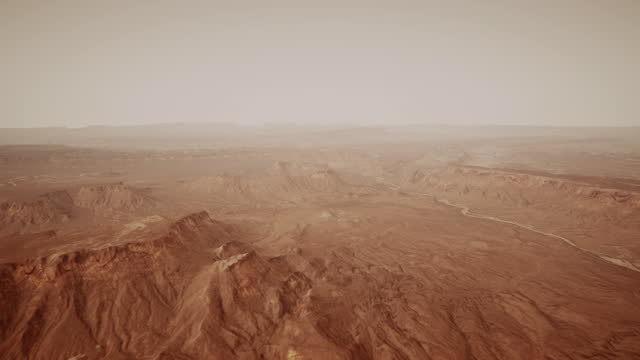vídeos de stock e filmes b-roll de the surface of mars, strewn with small rocks and red sand - colony