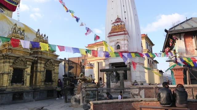 pan tu of the swayambhunath temple also known as monkey temple with prayer flags and allseeing eyes of buddha in the northwest of the kathmandu... - stupa stock videos & royalty-free footage