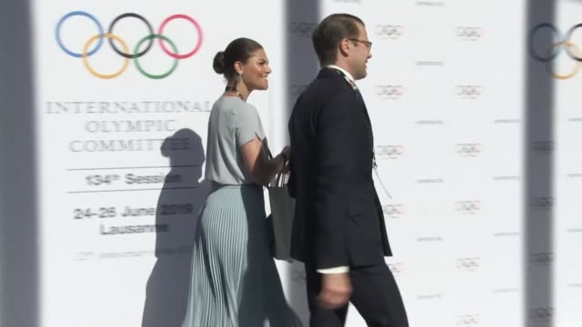 vídeos y material grabado en eventos de stock de the swedish delegation arrives in lausanne switzerland ahead of the annoucement of the host city for the 2026 winter olympics - winter sports event
