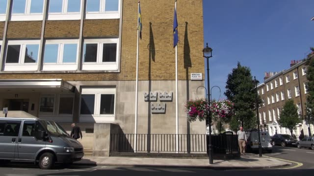 the swedish embassy in london embassy of sweden in london at montagu place marylebone on august 26 2013 in london england - メリルボーン点の映像素材/bロール