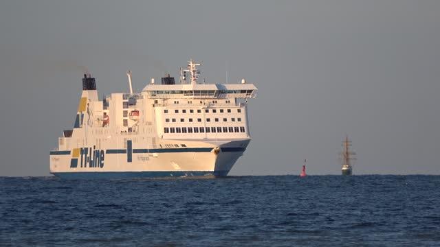 the swedish ferry nils holgerson, tt-line on the baltic sea off travemünde - westernisation stock videos & royalty-free footage