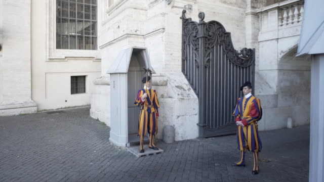 the swiss guard at vatican city. - 近衛兵点の映像素材/bロール