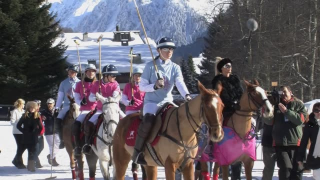 stockvideo's en b-roll-footage met the swiss mountain resort of klosters, better known as prince charles' favoured ski resort, hosted the 7th snow polo event on sunday. klosters,... - clean