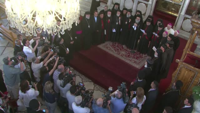 the synod of the antioch eastern christians convened in damascus today in the presence of lebanese maronite patriarch bechara rai who paid a rare... - synod stock videos & royalty-free footage