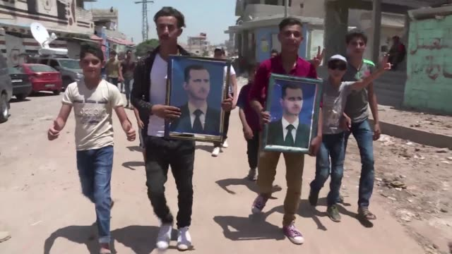 The Syrian regime organises a press tour in Ghariyah ash Sharqiyah a recently recaptured village in the province of Daraa and shows weapons...