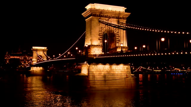 the széchenyi chain bridge at night, budapest - széchenyi chain bridge stock videos and b-roll footage