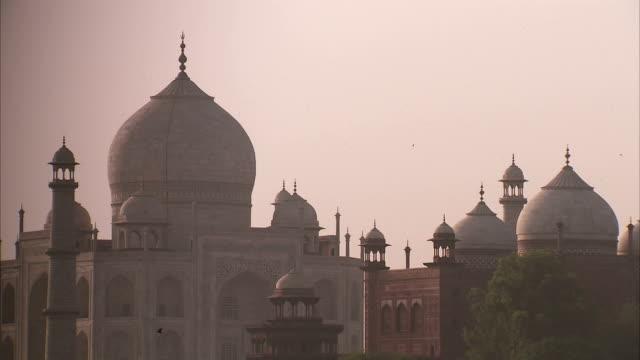 The Taj Mahal at sunrise.