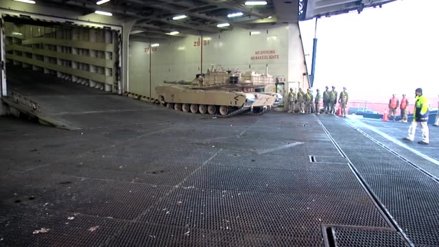 The tanks trucks and equipment of the 1st Armored Brigade 1st Cavalry Division from Ft Hood Texas arrived in Europe a nine month heeltotoe rotation...