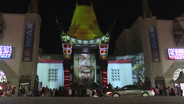 the tcl chinese theater marks its 90th anniversary celebration with an outdoor 3d projection display of movie classics in hollywood - tcl chinese theater stock-videos und b-roll-filmmaterial