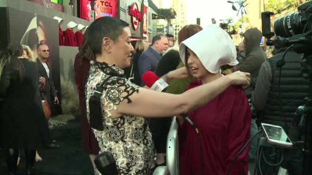 The team behind dystopian scifi series The Handmaid's Tale promotes the second season at a black carpet event ahead of its global release