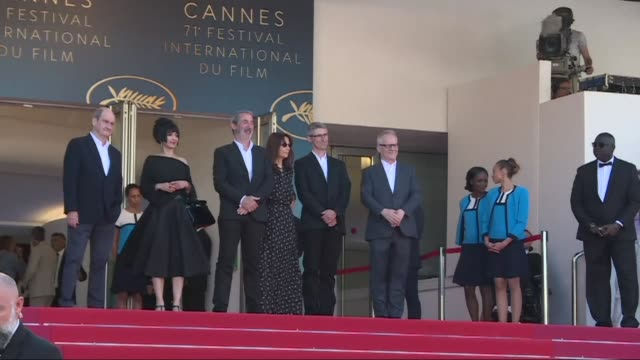 the team of the film the image book walks the red carpet at the 71st edition of the cannes film festival without its director jeanluc godard - livre stock videos & royalty-free footage