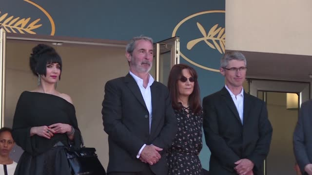the team of the film the image book walks the red carpet at the 71st edition of the cannes film festival without its director jean luc godard - livre stock videos & royalty-free footage