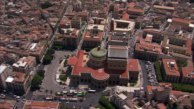 the teatro massimo opera house rises in the center of the piazza verde in palermo, sicily, italy. - sicily stock videos & royalty-free footage