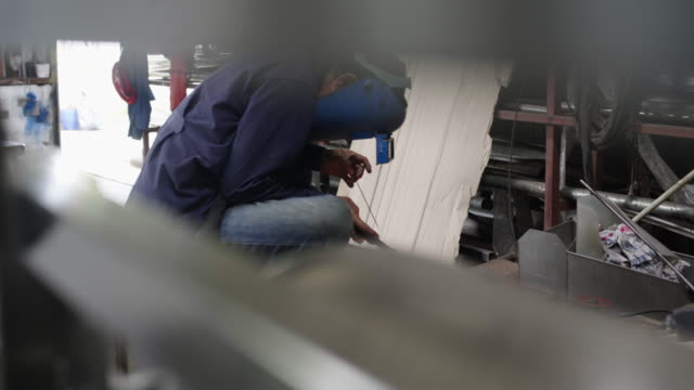 the technician is welding stainless steel. - shipyard stock videos & royalty-free footage