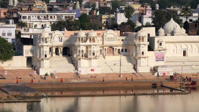 The temple ghats in Pushkar stepping down towards the sacred Pushkar Sarovar or Lake