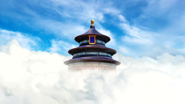 t/l cgi the temple of heaven in clouds / beijing, china - temple of heaven stock videos & royalty-free footage