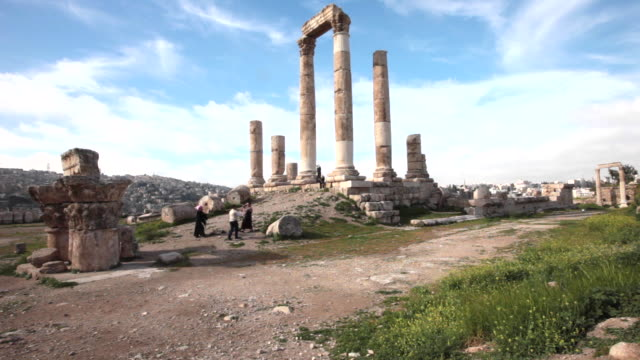 the temple of hercules in amman citadel - a national historic site at the centre of downtown amman, jordan - byzantine stock videos & royalty-free footage