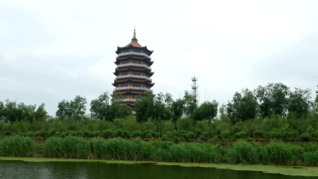 the temple tower on the shore of the water - pagoda stock videos & royalty-free footage
