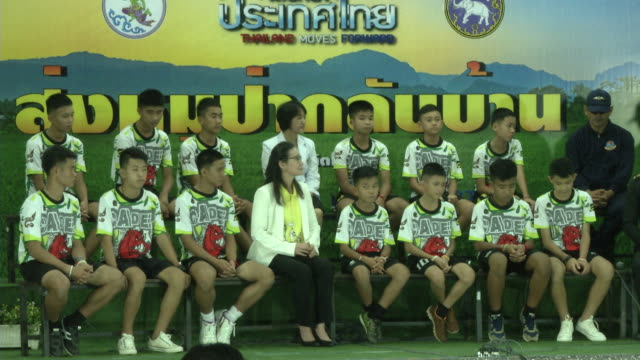 the tham luang boys speak at a press conference in chaing rai after being released from the hospital divers evacuated the 13 boys trapped in a... - thai culture stock videos & royalty-free footage