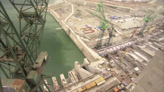 The Three Gorges Dam undergoes construction.