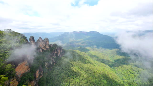 The Three Sisters rock formation in Blue Mountains, New South Wales/ Australia
