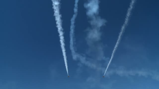 the thunderbirds and other aerial performers entertain spectators at the 2014 warriors over the wasatch open house and air show at hill afb utah - thunderbirds stock videos and b-roll footage