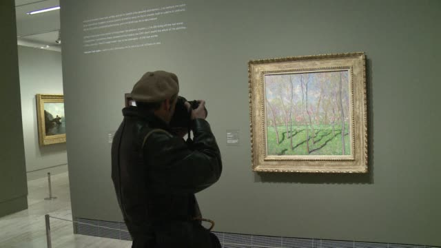 the thyssen museum in madrid opens a new exhibition entitled impressionism and open air painting. clean : new impressionism exhibition on february... - impressionism stock videos & royalty-free footage