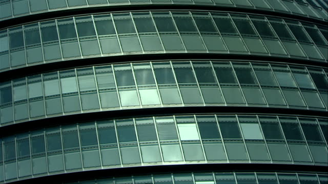 The tiered glass exterior of London's City Hall creates a unique appearance. Available in HD.