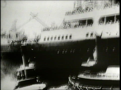 the titanic leaves south hampton's harbor and a survivor discusses possibly averting the disaster through technology - wrack stock-videos und b-roll-filmmaterial