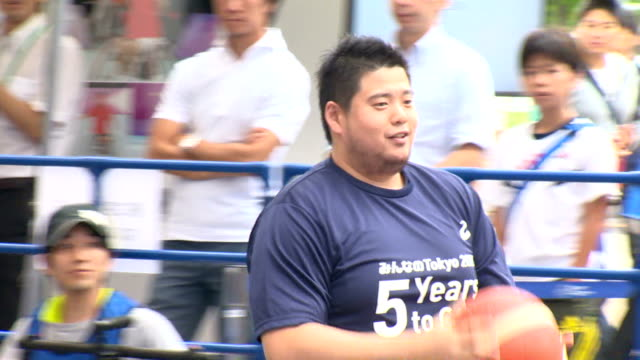the tokyo organising committee of the olympic and paralympic games and tokyo prefecture hosted an event celebrating exactly five years to go until... - wheelchair basketball stock videos and b-roll footage