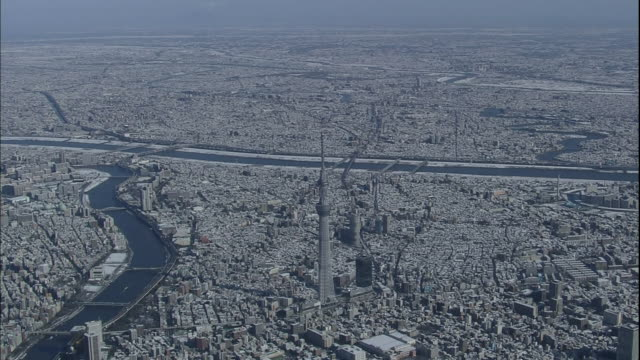 the tokyo skytree towers above adjacent skyscrapers and other snow covered downtown tokyo buildings. - 高い点の映像素材/bロール