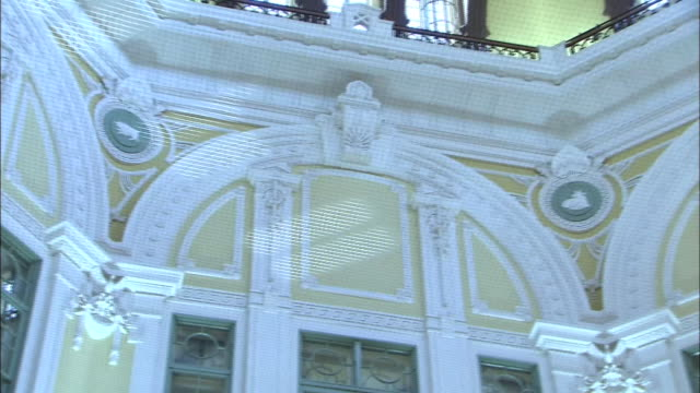 the tokyo station marunouchi building restored to their original 1914 design panning shot of the zodiac animal reliefs on the ceiling inside the dome - begriffssymbol stock-videos und b-roll-filmmaterial