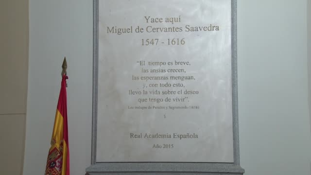 The tomb of Don Quixote's writer Miguel de Cervantes at Trinitarias Descalzas convent during the World Book Day
