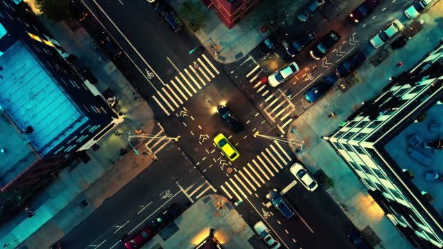 the top directly above night view of the intersection in the city - brooklyn, new york - drone point of view stock videos & royalty-free footage