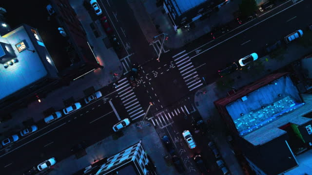 the top directly above night view of the intersection in the city - brooklyn, new york - new york city stock videos & royalty-free footage