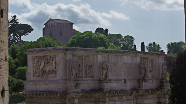 the top of the arch of constantine from the colosseum - arch of constantine stock videos and b-roll footage