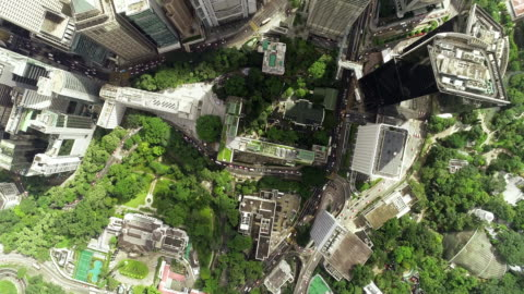 the top view of the building tower in green hong kong city - green colour stock videos & royalty-free footage