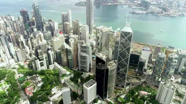 the top view of the building tower in green hong kong city - central district hong kong stock videos & royalty-free footage