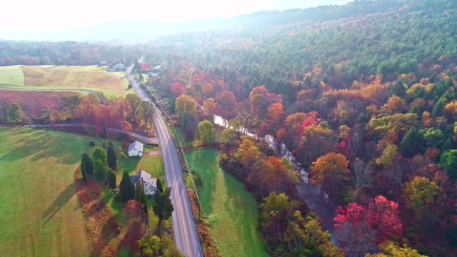 the top view on the road in the small town kunckletown, poconos, pennsylvania, with fall foliage. aerial drone video. - pennsylvania stock videos & royalty-free footage